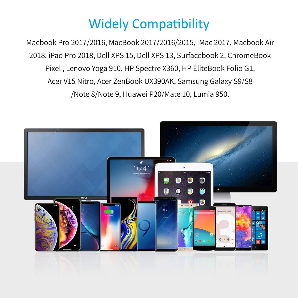 4K@60Hz Dell XPS 13//15-2M//6.5FT CHOETECH USB C to HDMI Cable Type C to HDMI Cable Thunderbolt 3 Compatible with MacBook Pro 2018//2017 iPad Pro//MacBook Air 2018,Samsung S10//S9//S8