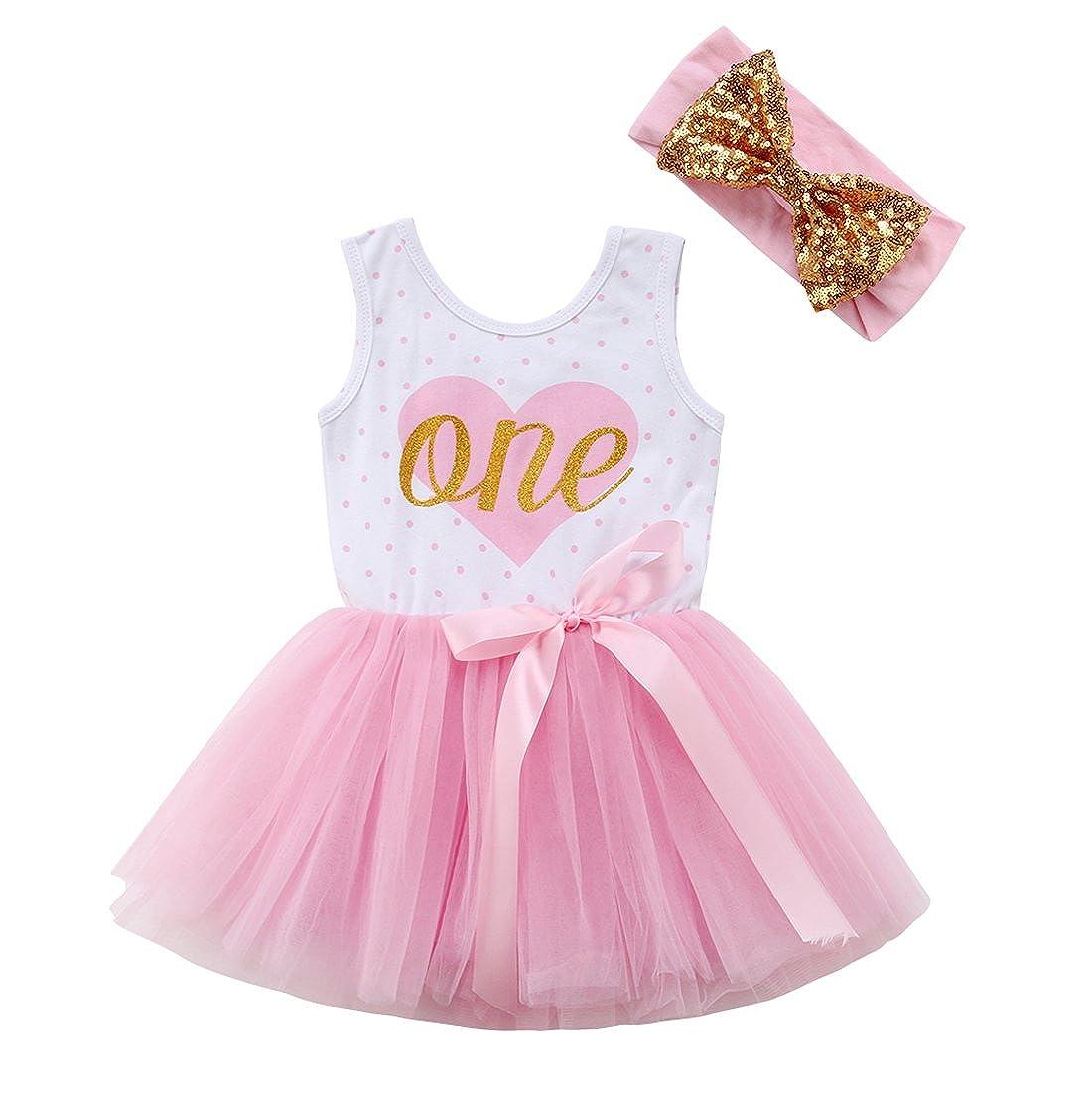 Imcute Toddler Baby Girls Birthday Dress Casual Sleeveless Tutu Dresses One Piece