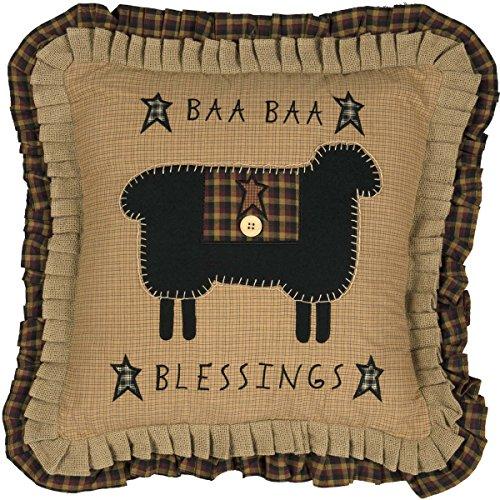 VHC Brands Seasonal Primitive Pillows & Throws Baa Blessings Tan 18