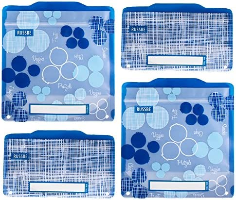 Set of 4 Russbe 18725 Metallic Hexagrid Reusable Snack /& Sandwich Bags Blue