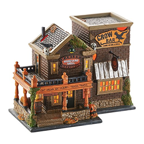 Department 56 Village Halloween Harley Crow Bar Lit House