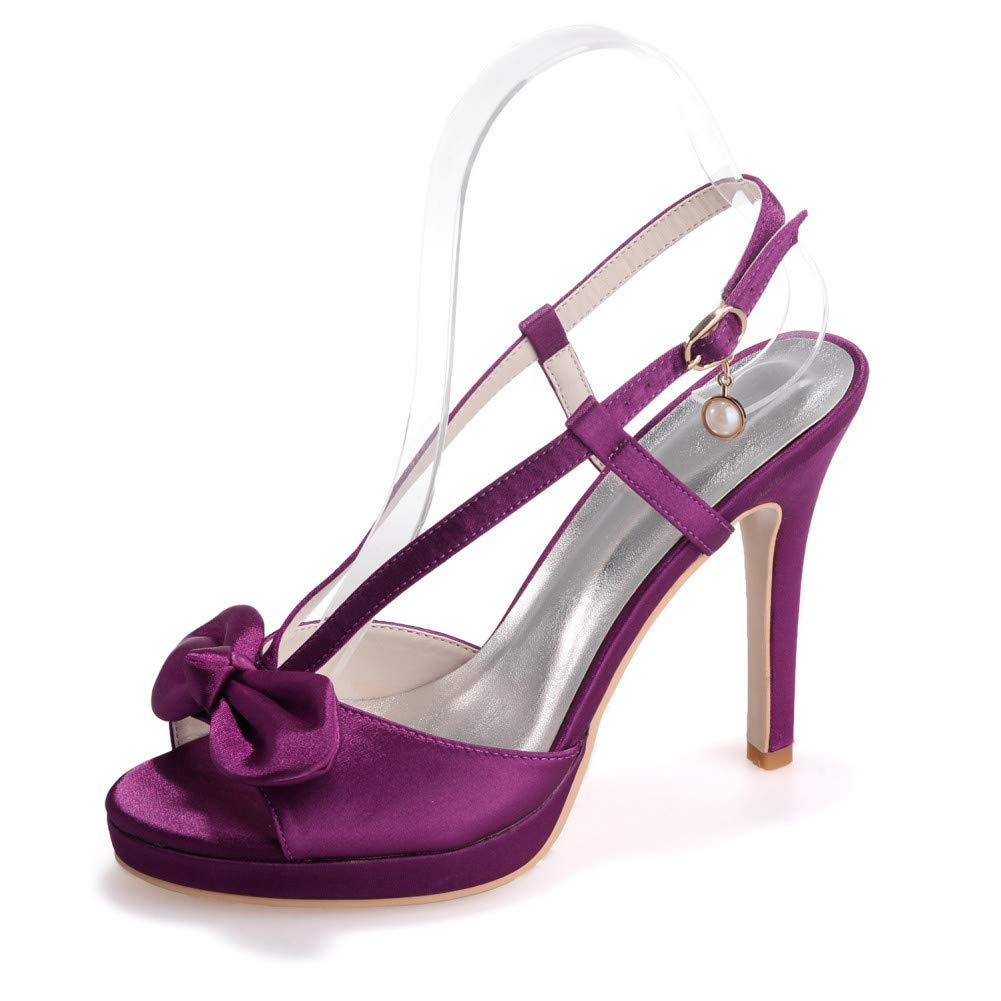 Purple 35 YUGUO High Heels New Satin Sandals Women's shoes Stiletto High Heel Fish Mouth Women's Sandals Solid color Bow Lady Dress shoes