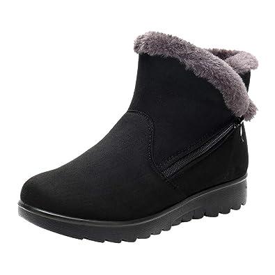 ZYUEER Femme Ankle Boots Bottines Chelsea, Bottes Neige