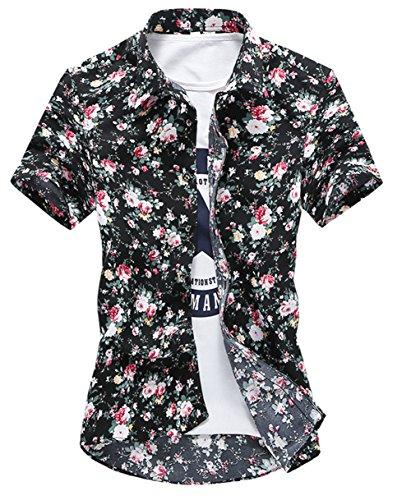 [スゴフィ]SGFY  メンズ ポロシャツ 和柄 半袖 花柄 カジュアル シャツ ゴルフ ウェア バラ カコイイ