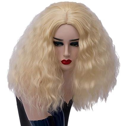 Baisheng mujeres rosa peluca roja pelucas de disfraces de Halloween Lady Cosplay peluca salvaje atractiva hermosa
