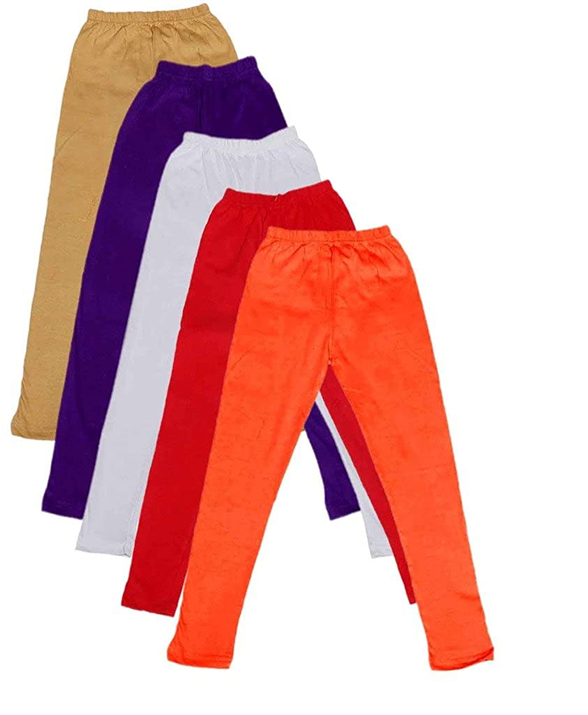 Indistar Big Girls Cotton Full Ankle Length Solid Leggings -Multiple Colors-5-6 Years Pack of 5