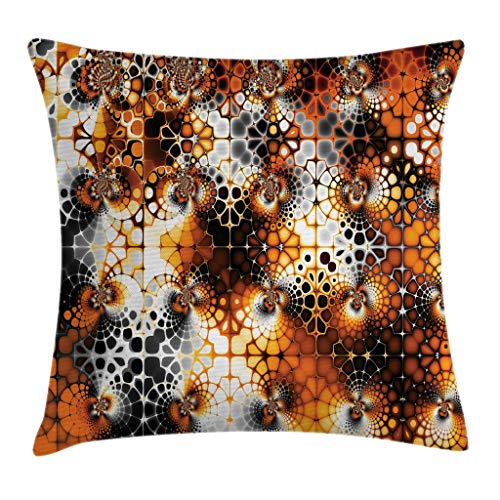 Ambesonne Burnt Orange Throw Pillow Cushion Cover, Vintage Mosaic Pattern with Burnt Floral Curve Feature Abstract Graphic, Decorative Square Accent Pillow Case, 16