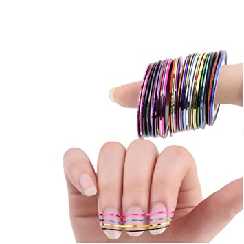 Amazon 30pcsset Beauty Mixed Colors Nail Rolls Striping Tape