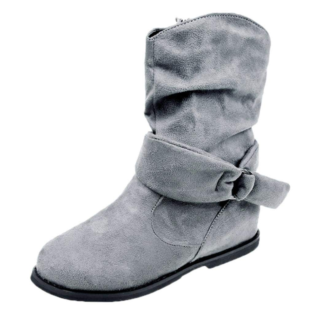 Clearance Womens Mid Calf Bootie Faux Suede Buckled up Booties,Autumn Winter Soft Slouchy Flat Boot Shoes (Gray, US:8.5)
