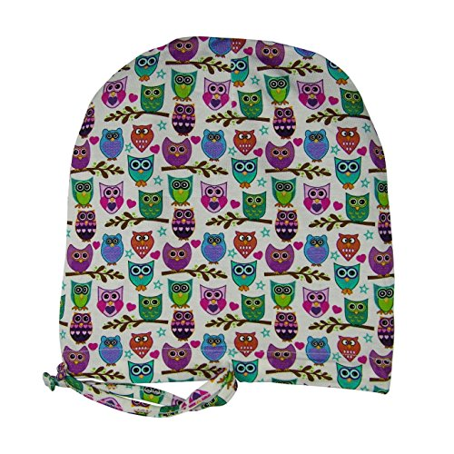 67e8d760b32 Satin Life Adjustable Drawstring Patterned Satin Lined Hat Cap Beanie … (Happy  Owls)