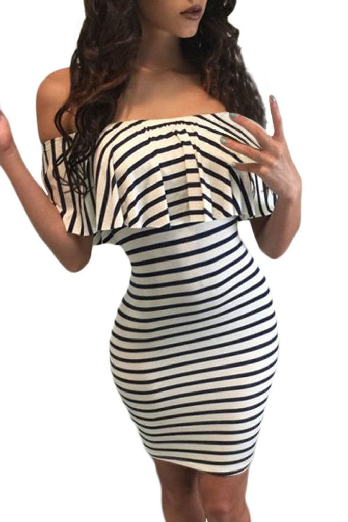 Chase Secret Womens Off Shoulder Striped Evening Party Cocktail Dress Small White