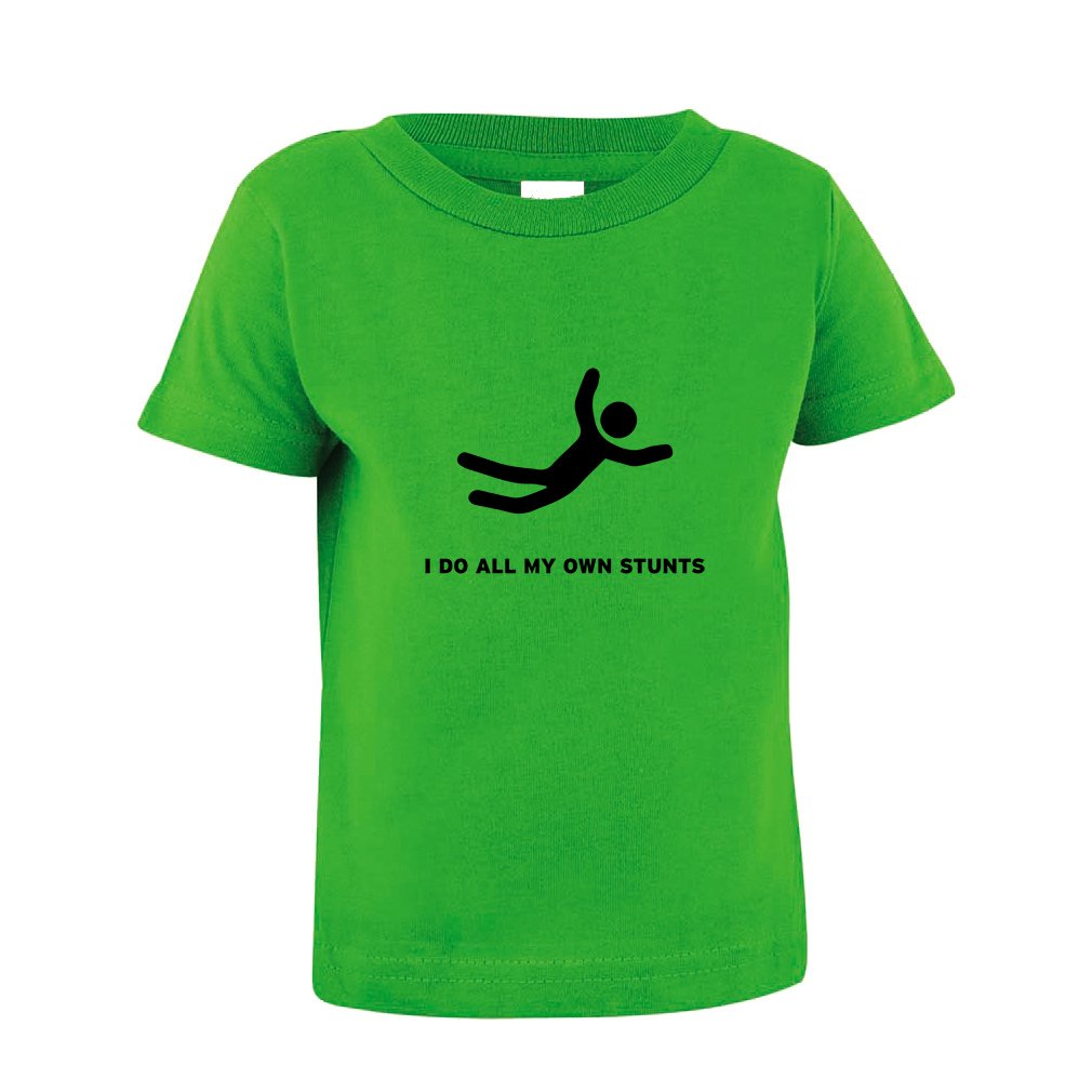 Cute Rascals I Do All My Own Stunts Toddler Baby Kid T-Shirt Tee Apple Green 3T