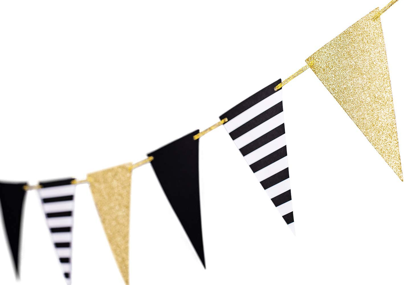 10 Feet Gold Black Triangle Banner Decoration Golden Christmas New Years Eve Supplies Bunting Signs Decoration for Birthday Gatsby Party Nursery Classroom Decoration Flags 15pcs (Golden Black Striped)