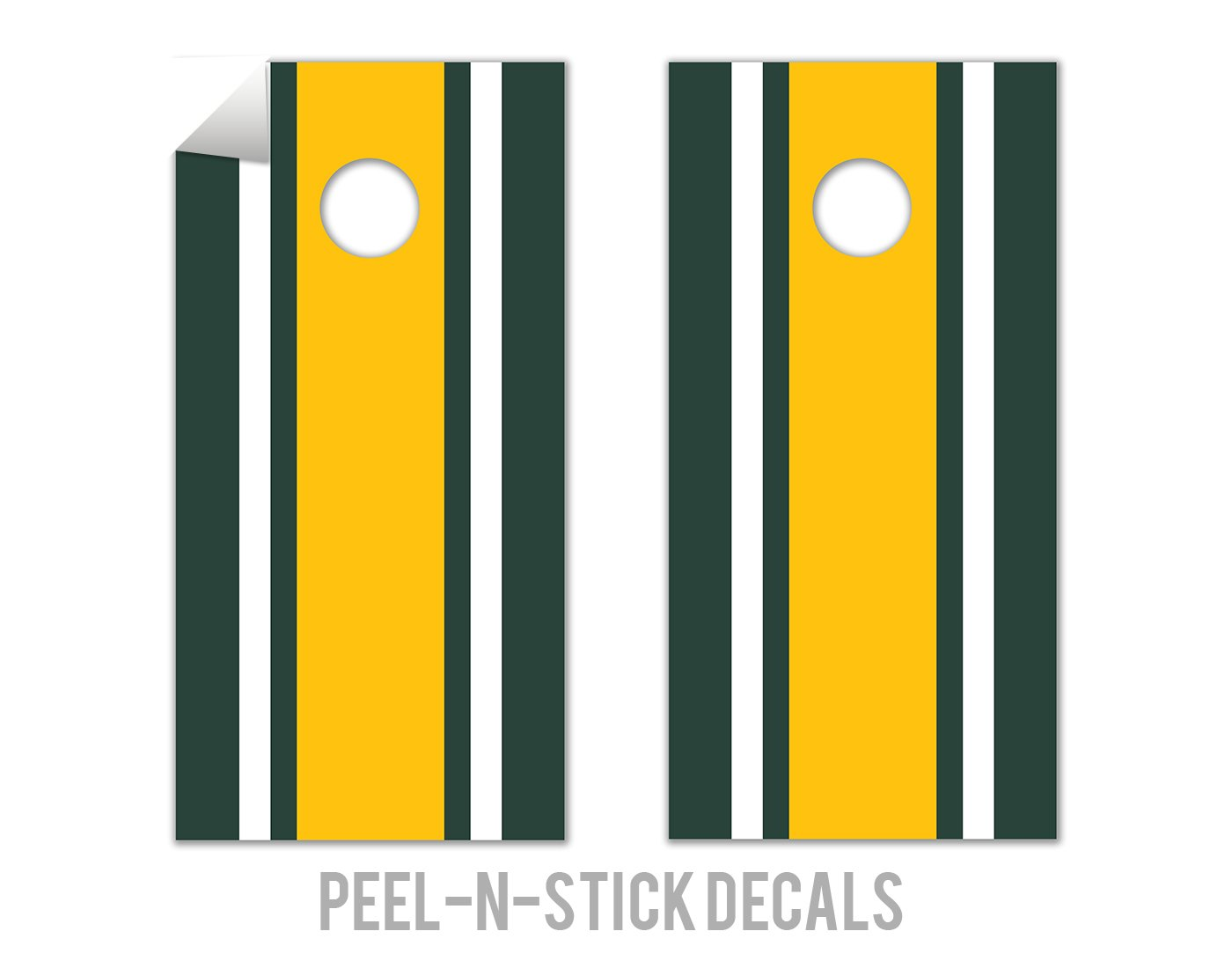 Classic Stripe - Green, White, Yellow - Cornhole Crew - ACA Regulation Size Cornhole Board Decals