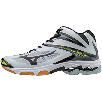 Buy Mizuno Wave Lightning Z3 Men s Mid Volleyball Shoes - White   Black  Online at Low Prices in India - Amazon.in 2479654581e