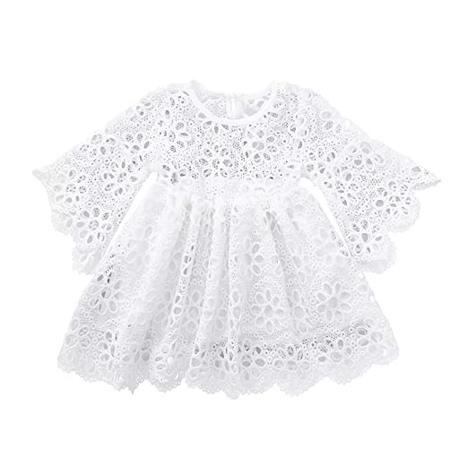 Amazoncom Baby Girls Long Sleeves Party Dresses White Crochet Lace