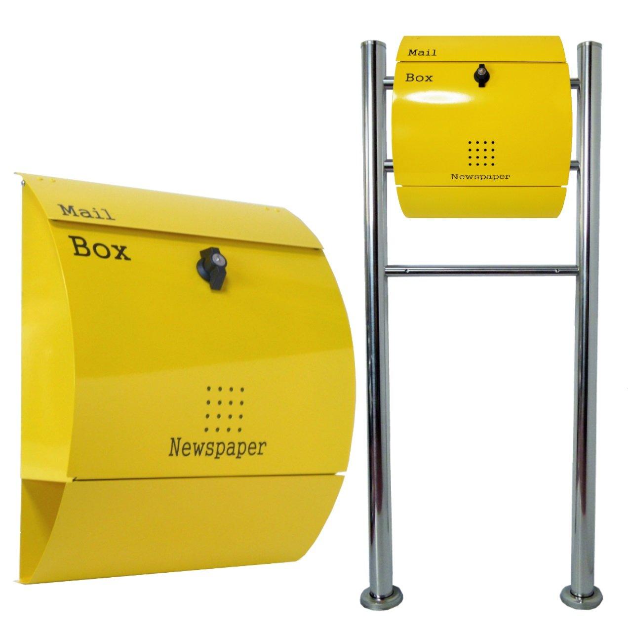 郵便ポスト郵便受けおしゃれ北欧風飾りバー付スタンド型プレミアムステンレスイエロー黄色ポストpm06f-pm031 B076GWVT5F 22880