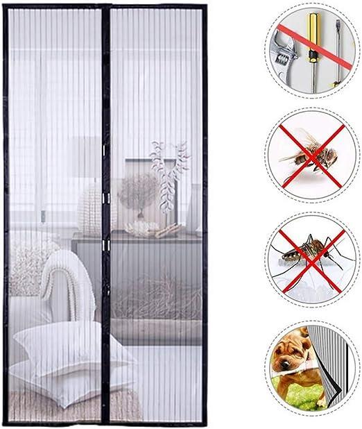 KEOA Cortina Mosquitera Magnética para Puertas, Cierre automático y Magnética Fuerte Marco de Velcro Completo para Puertas Correderas Balcones Terraza (100 * 210cm,Negro): Amazon.es: Hogar
