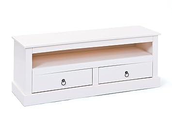Links 20901530 Provence 3 Meuble TV 2 tiroirs Blanc 118 x 39 x 45 cm ... 0eed0b620349