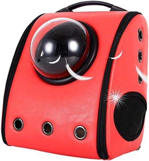WEATLY Red Creative Transparent Pet Backpack Respirable Space Capsule Portador para Gatos y Perros (Color : Red): Amazon.es: Productos para mascotas