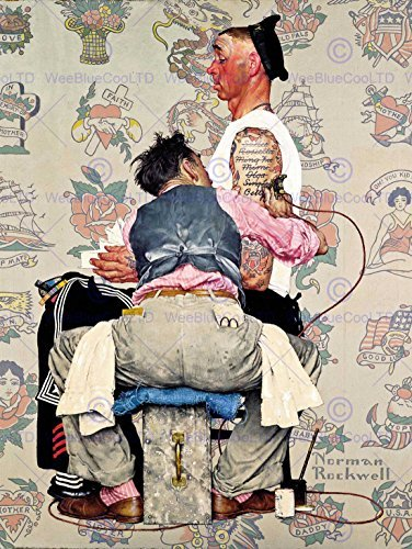 Buy cheap paintings portrait tattoo parlour sailor ink artist usa fine art print poster 30x40cm cc1384 wee