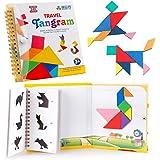 D-FantiX タングラム シルエットパズル Travel Tangram 旅行ゲーム マグネット 240題 Tangoes IQ Book 教室 教育 知恵パズル 3セット プレート付き