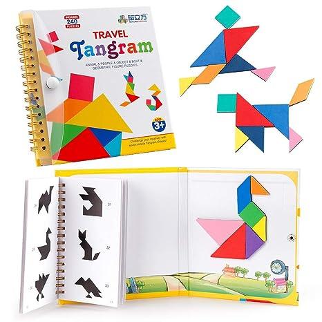 D Fantix タングラム シルエットパズル Travel Tangram 旅行ゲーム マグネット 240題 Tangoes Iq Book 教室 教育 知恵パズル 3セット プレート付き