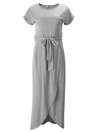 7d8ced7f2f ACHICGIRL Women's Short Sleeve High Slit Solid Maxi Dress with Belt Light  Grey
