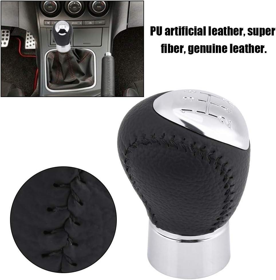 DEALPEAK Automotive 5 Speed Stick Shifter Head Leather Gear Shift Knob Fit for Mazda 3 5 6 323 626 RX-8 MPV