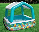 INTEX Sun & Shade Inflatable Kids Swimming Pool w/ Canopy + Quick Fill Pump