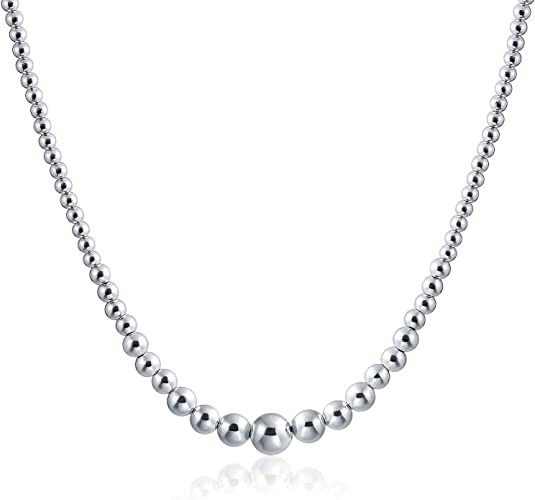 18 Sterling Silver Polished Beaded Necklace