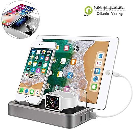 Estación de Carga USB para múltiples Dispositivos,5 Puertos 3 en 1 ...
