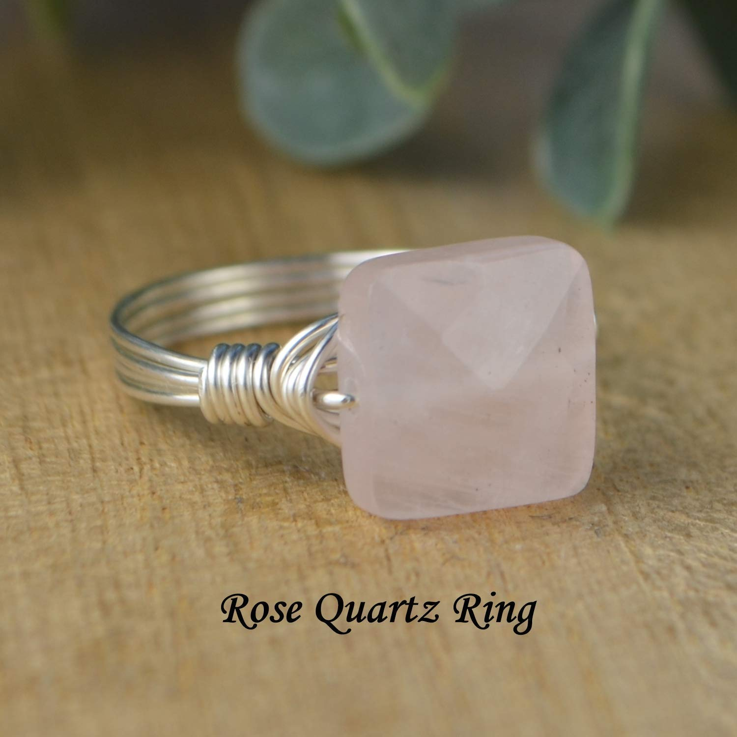 Faceted Yellow Chalcedony Square Gemstone Bead and Sterling Silver or Gold Filled Wire Wrapped Ring Made to size 4-14