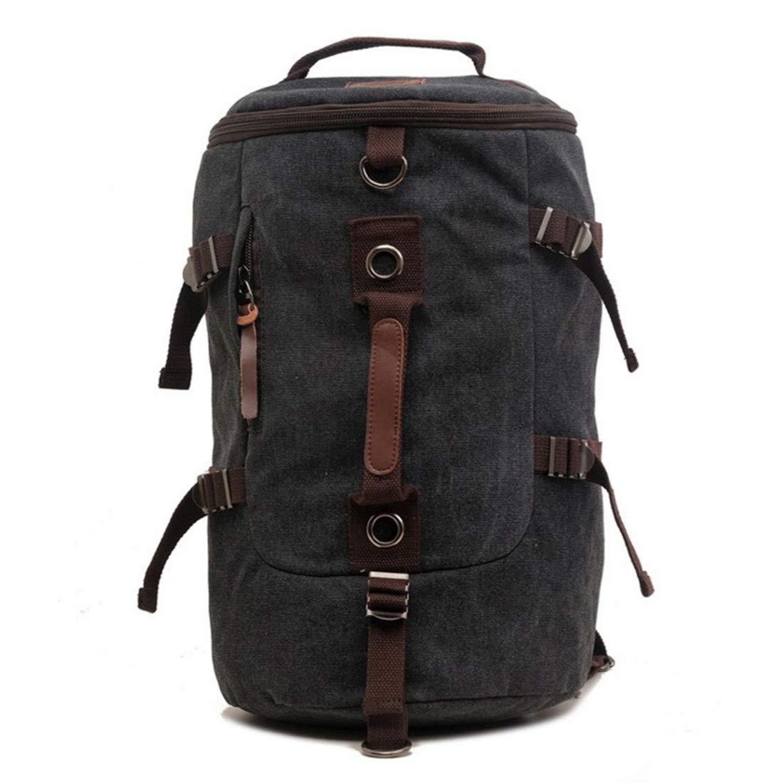 schwarz UICICI Canvas-Rucksack, diagonale Umhängetasche, multifunktionale Tasche mit großer Kapazität, Reise-Bergsteigen-Tasche (Farbe   schwarz)