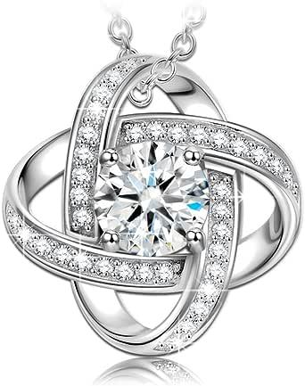 NINASUN Silver Necklaces for Women 5A CZ Fine Jewelry