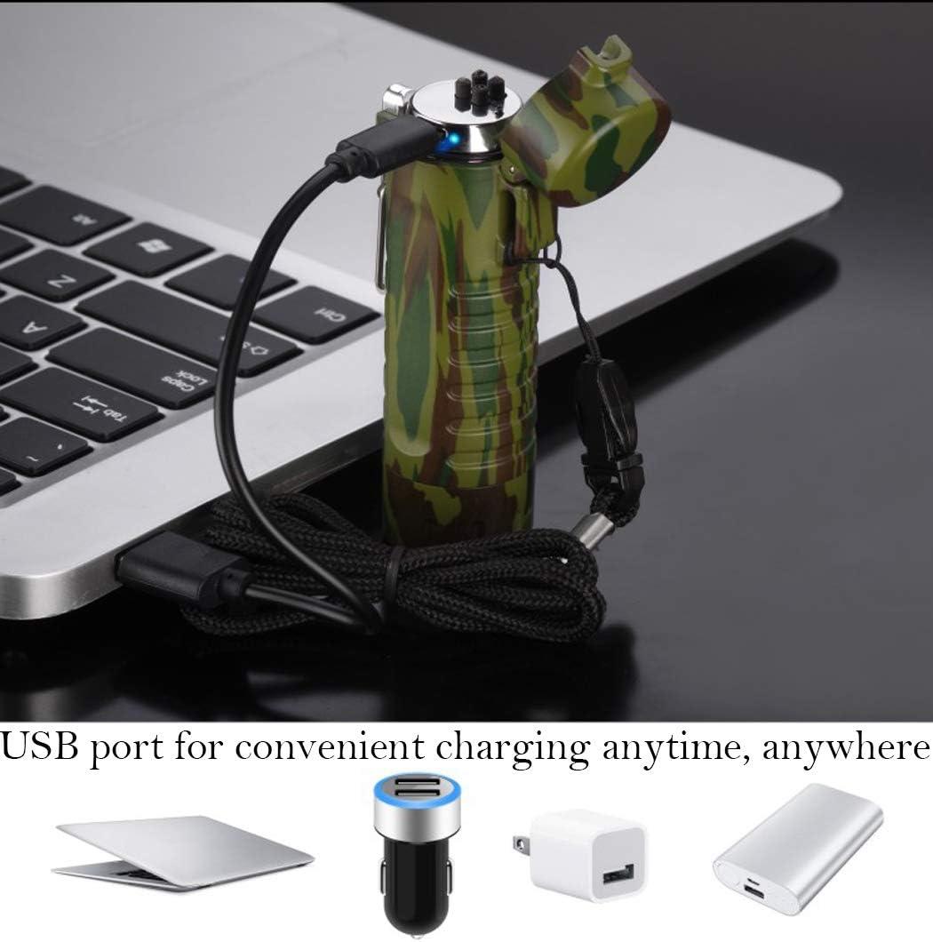 allumeur de Camping Plasma Portable et Coupe-Vent Rechargeable par USB Sevenpicks Allume-feu /à Double Arc /étanche