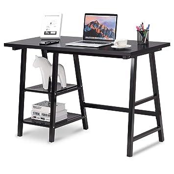 amazon com tangkula writing computer desk trestle desk study desk rh amazon com simple modern pc desk simple modern pc desk