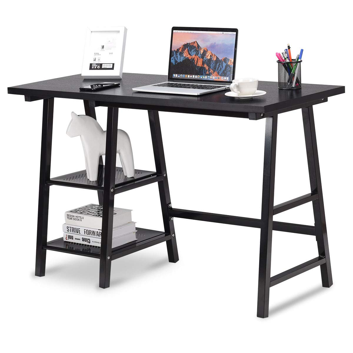 Tangkula Writing Computer Desk, Trestle Desk Study Desk, Laptop PC Desk, Modern Wood Vintage Style Reversible Storage Shelf, Home Office Furniture Sturdy Table Study Table (Black)