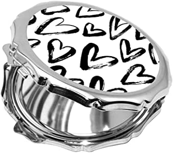 hearts Printed Pocket Circular Mirror
