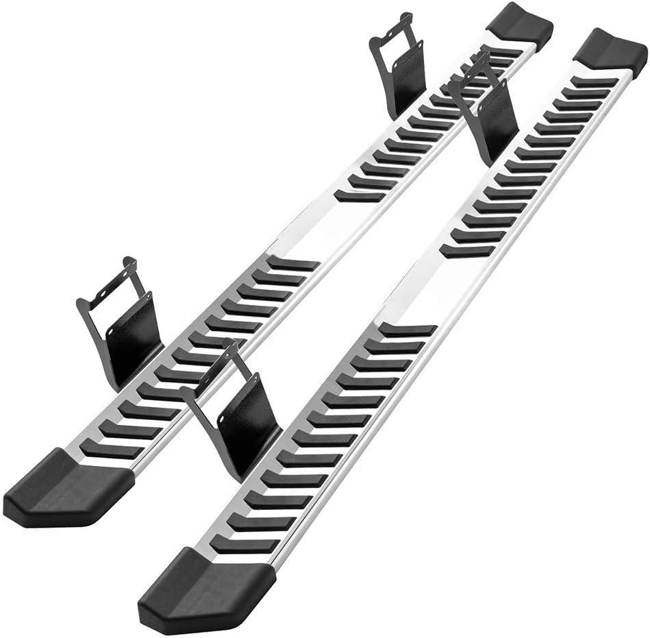 IKON MOTORSPORTS Running Boards Compatible With 2015-2020 Ford F150 Super Cab V Style Black Steel Side Step Bar Nerf Bar