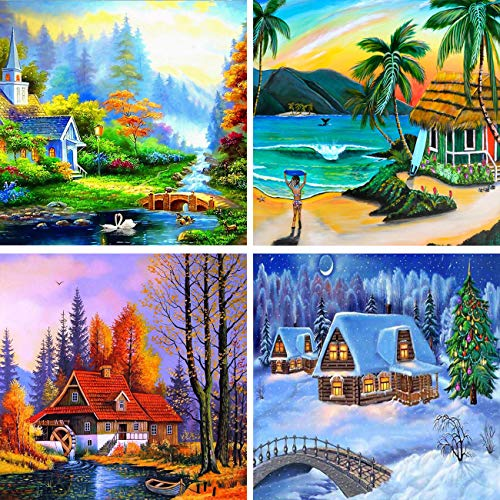 Yomiie 4 Pack 5D Diamond Painting Full Drill Four Season Oil Painting by Number Kits for Adults, Spring Summer Autumn Winter DIY Rhinestone Pasted Paint with Diamonds Arts Decor 30x30cm (12x12 inch)