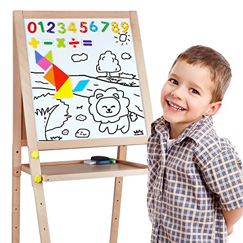 Kids Standing Art Easel Wooden Double Sided Adjustable Height Magnetic Drawing Board with Tray and Accessories by YIRAN (Image #6)