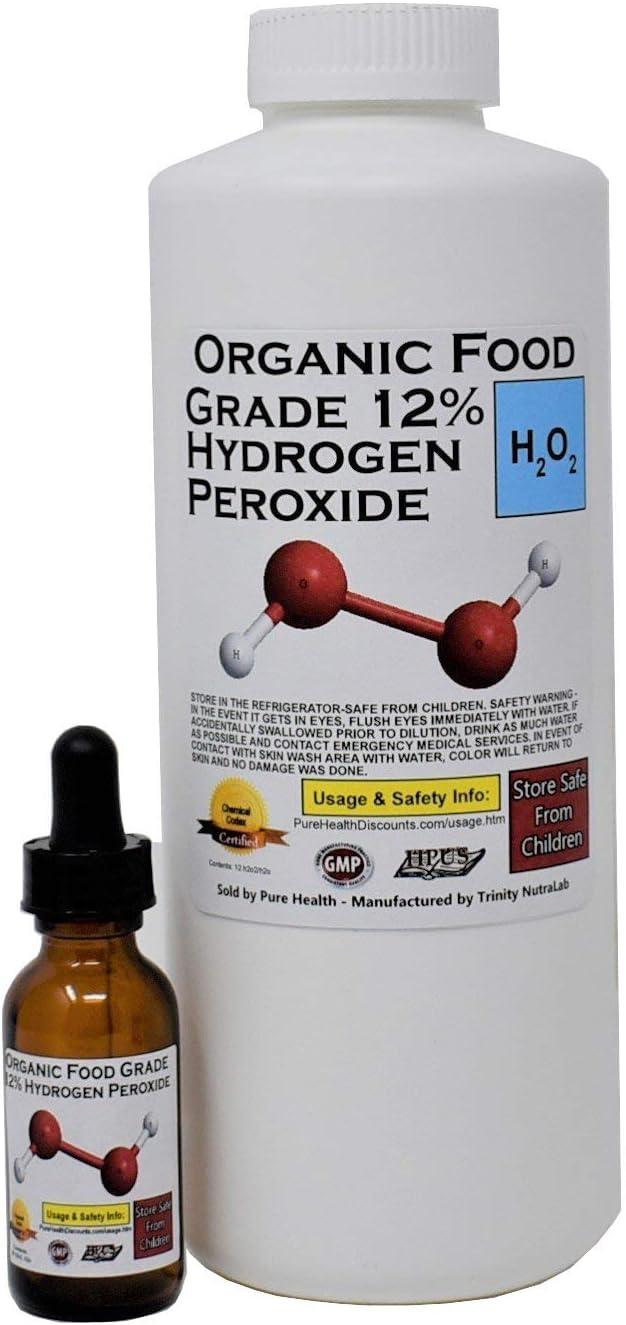 1 Quart Organic TNL 12% Certified Food Grade Hydrogen Peroxide + Pre-filled Dropper Bottle. Recommended by One Minute Cure & True Power of Hydrogen Peroxide. Shipped Fast