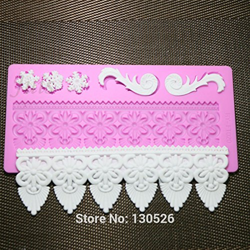 Large Baking Gum Psate Sugarcraft Flower Border Moulds Silicone Mat Fondant Decorating Tool Cake Lace Mold by MERRY BIRD