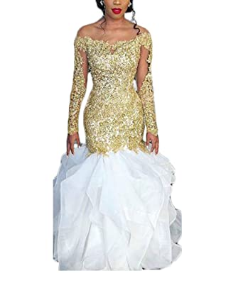 Z Sexy Illusion Off Shoulder Mermaid Pageant Prom Dresses Gold Appliques Lace Wedding Dresses