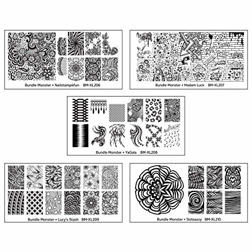 Maniology (formerly bundle monster) 5pc Blogger Collaboration Nail Art Polish Stamping Plates - Set 2
