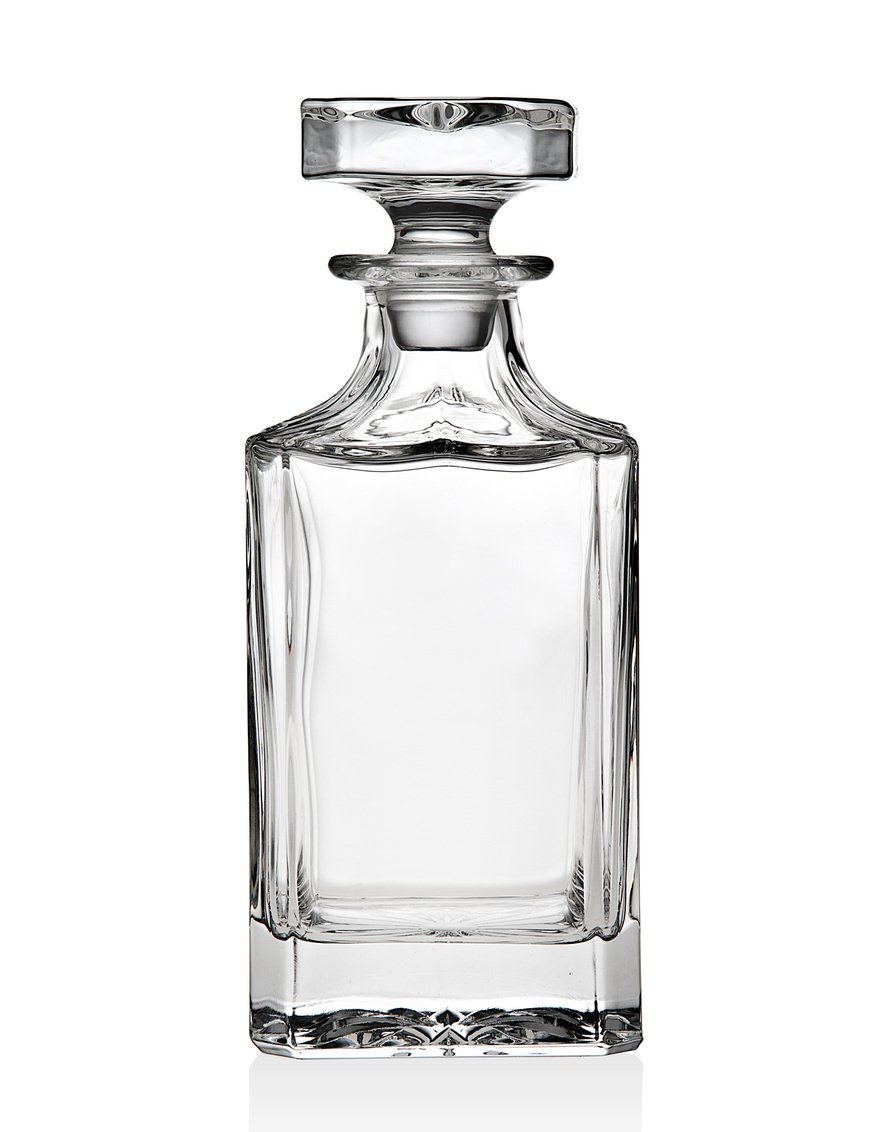 Godinger Silver Art Clarion Square Non-leaded Crystal Whiskey Decanter With Glass Stopper SYNCHKG092392