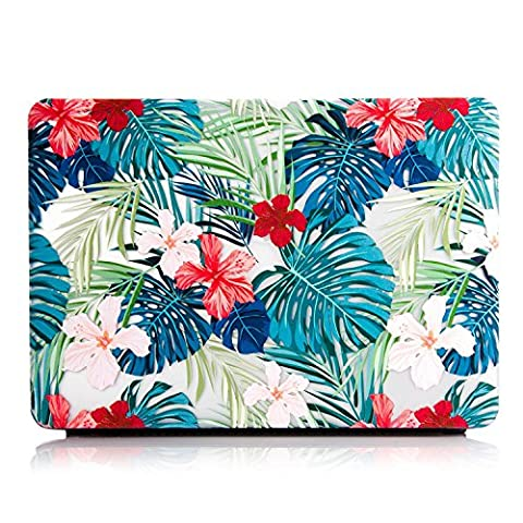 MacBook Pro 13 inch Cover Case,One Micron Matte Soft Plastic Hard Case for MacBook Pro 13''with Retina without CD Drive (A1425/A1502 )-Tropical Palm Leaves with Red (Cargador Palm)