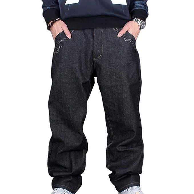 BoBoLily Pantalones De Mezclilla De Los Hombres Clásicos Vaqueros Pantalones  Exquisitos Unique Stlie De La Vendimia Urban Baggy Denim Hip Hop Dancing  Pants ... 988fcbe58a4