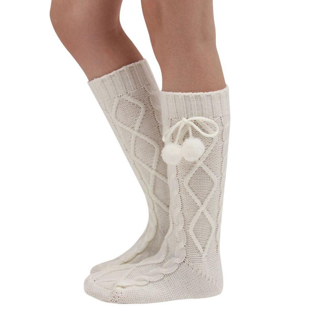 ホットセールレディースKnee Boot Socks、jushyeレディースニットロングブーツソックス膝上ストッキングニットHangingボールソックス B077KWDBG3 ホワイト ホワイト